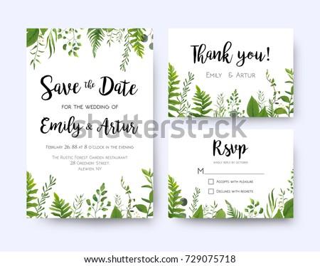 Wedding Invite Invitation Menu Rsvp Thank Stock Vector ...