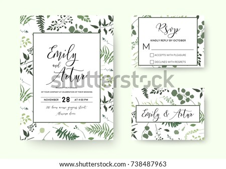 Wedding invite, invitation rsvp card vector floral greenery silhouette design: palm fern tree, foliage natural branches, green leaves, herbs, berries tropical heel hand drawn silhouette Watercolor set