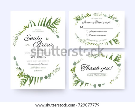 Wedding invite invitation rsvp thank you stock vector 2018 wedding invite invitation rsvp thank you card vector floral greenery design forest fern frond stopboris Images