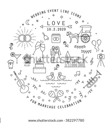 WEDDING LINE ICONS COLLECTION. Can be used in wedding invitation design, cards, websites,blogs and more... Editable vector illustration file. - stock vector