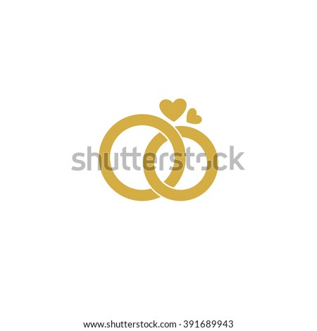 Wedding Logo Gold Wedding Rings Stylized Engagement Stock Vector Hd