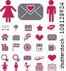 wedding & love icons set, vector - stock vector