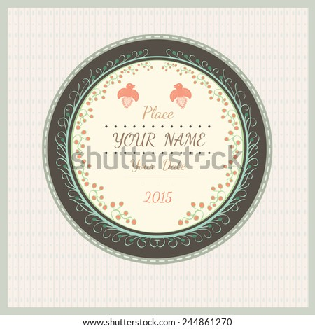 wedding love vintage background with plant bird and flourish pattern on round background - stock vector