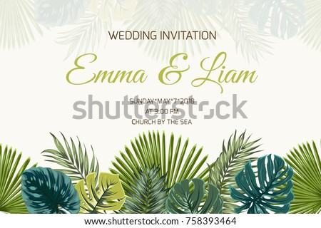 Event poster stock images royalty free images vectors wedding marriage event invitation card template exotic tropical jungle rainforest bright green palm tree and stopboris Image collections