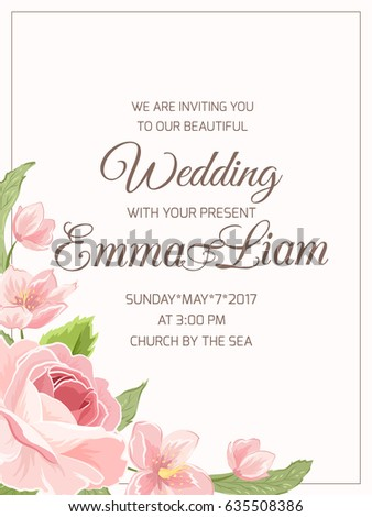 Wedding Marriage Invitation Card Template Rsvp Stock Photo Photo
