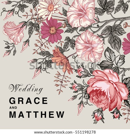 Wedding marriage thanks invitation. Beautiful blooming flowers. Vintage greeting card Frame Drawing engraving. Petunia Chamomile Rose isolated floral. Wallpaper background. Vector baroque Illustration