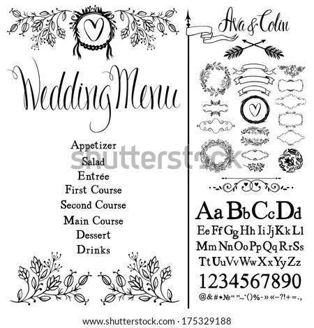 Wedding menu, flowers, font set and design elements set - stock vector