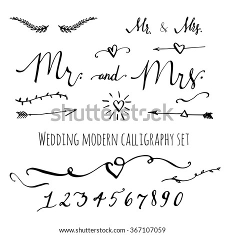 Wedding modern calligraphy decorative elements set stock vector wedding modern calligraphy and decorative elements set collection of vector hand drawn words numbers junglespirit Image collections