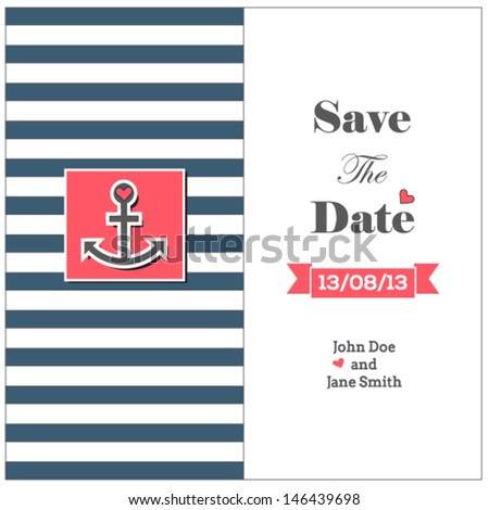 Wedding nautical invitation card with anchor - stock vector
