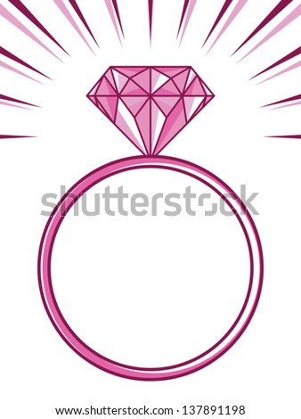 wedding or engagement ring with diamond - stock vector