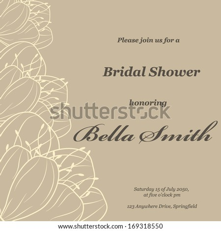 Wedding or invitation card. abstract vector flower pattern background