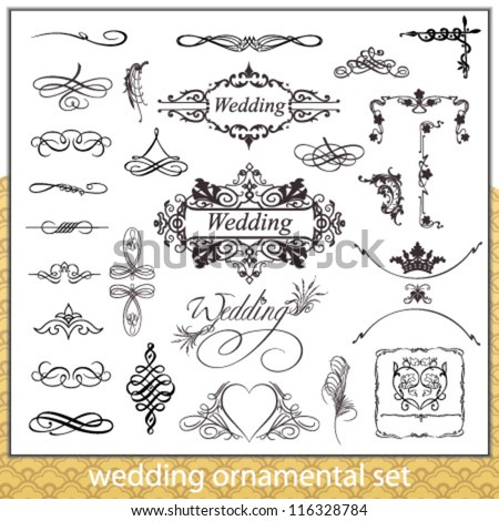 Wedding ornamental set with hearts, corner and border elements isolated on white background - stock vector