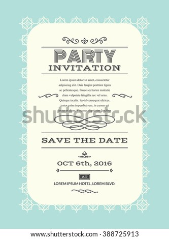 Wedding party invitation card layout template illustration in retro/vintage style
