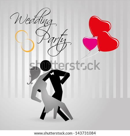 wedding party over gray background vector illustration - stock vector