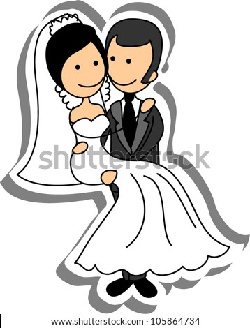 Wedding picture, bride and groom in love, the vector - stock vector