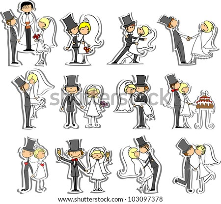 Wedding pictures, bride and groom in love, the vector - stock vector