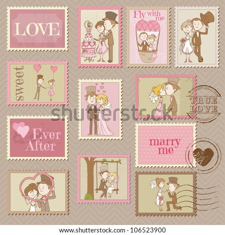 Wedding Postage Stamps - for design and scrapbook - in vector