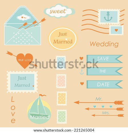Wedding postal stamps set of elements tablets vector - stock vector
