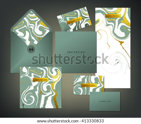 Wedding print set invitation card menu stock vector 413330833 invitation card menu and envelope vector templates with white and glittering stopboris Gallery