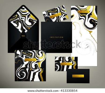 Wedding print set. Invitation card, menu and envelope vector templates with white and glittering gold liquid acrylic drips on black background. Paint vortexes and whirl texture with marble imitation. - stock vector