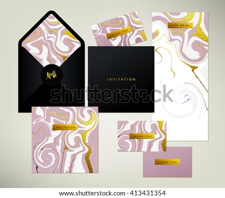Wedding print set. Invitation card, menu and envelope vector templates with white and glittering gold liquid acrylic drips on pink background. Paint vortexes and whirl texture with marble imitation. - stock vector