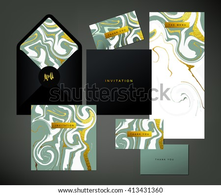 Wedding print set. Invitation card, menu and envelope vector templates with white and glittering gold liquid acrylic drips on grey background. Paint vortexes and whirl texture with marble imitation. - stock vector