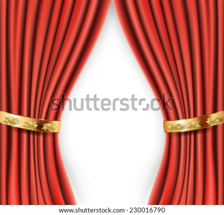 wedding red satin curtains with gold background - stock vector