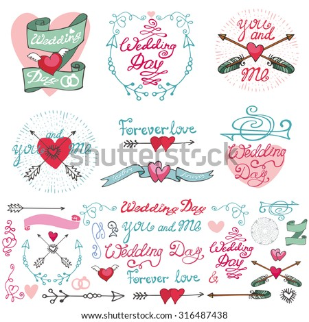 Wedding retro decor elements set in doodle Hand drawn style.Vector decoration,hearts,frame,flowers,pigeons,arrows,borders,catchwords.Love ,romantic ,Vintage illustration.For cards,labels,invitations - stock vector