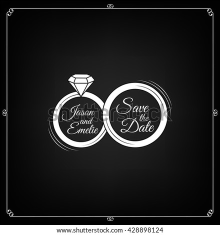 wedding ring and diamond. save the date. wedding invitation vintage filigree scroll divider element and frame. calligraphy scroll element. Beautiful cute invitation card. vector illustration. - stock vector