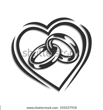 wedding ring in heart vector illustration isolated on white background - stock vector