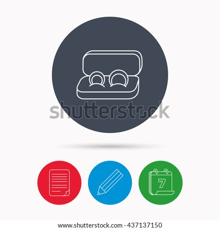 Wedding rings icon. Jewelry sign. Marriage symbol. Calendar, pencil or edit and document file signs. Vector - stock vector