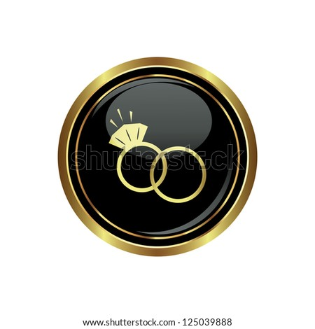 Wedding rings icon on the black with gold round button. Vector illustration - stock vector