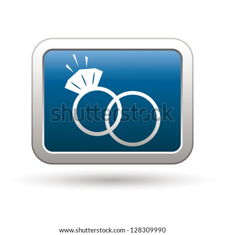 Wedding rings icon on the blue with silver rectangular button. Vector illustration - stock vector