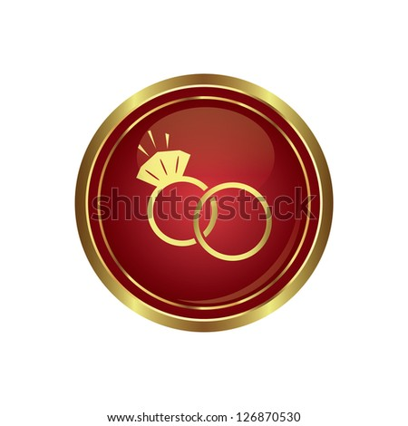 Wedding rings icon on the red with gold round button. Vector illustration - stock vector
