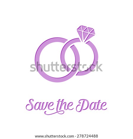 Wedding rings icon on white background creative card