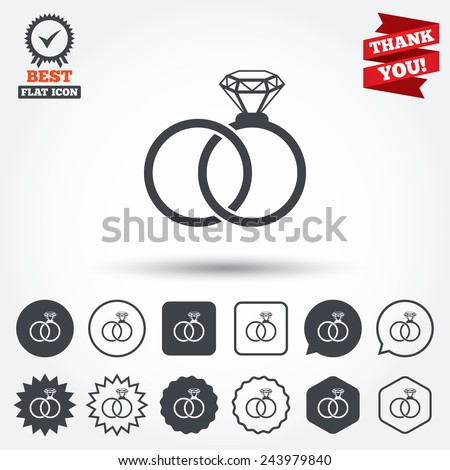 Wedding Rings Sign Icon Engagement Symbol Stock Vector 243979840