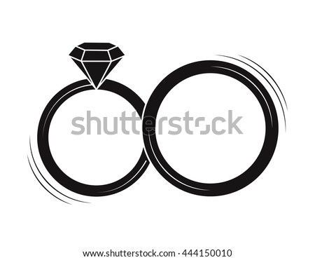 Wedding Rings Vector Icon On White Stock Vector 444150010 Shutterstock