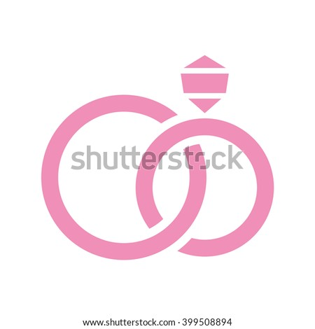 Wedding rings with diamond. Vector icon. Color illustration.