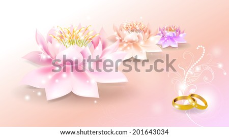 Wedding rings with lotus background - stock vector