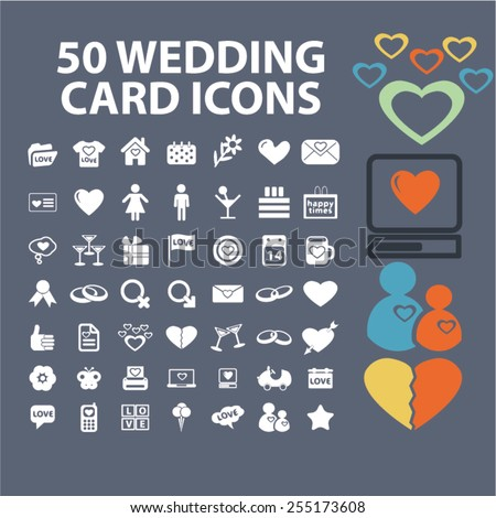 wedding, romance, love, relations flat isolated concept design icons, symbols, illustrations on background for web and applications, vector - stock vector