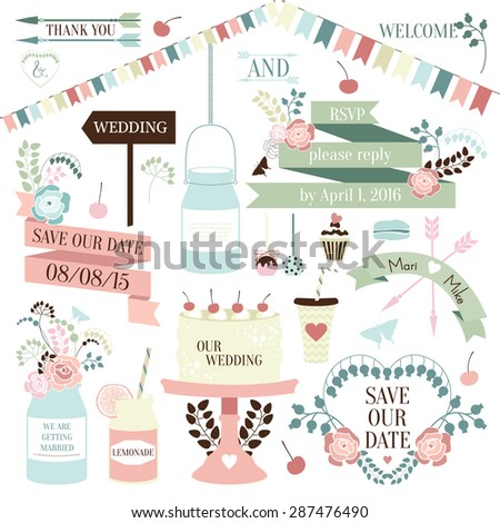Wedding romantic elements collection with labels, ribbons, hearts, flowers, arrows, laurel and beetles. Save the Date invitation in vector - stock vector