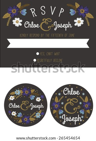 Wedding RSVP card and candy sticker labels with blue and gold flowers on black background. - stock vector