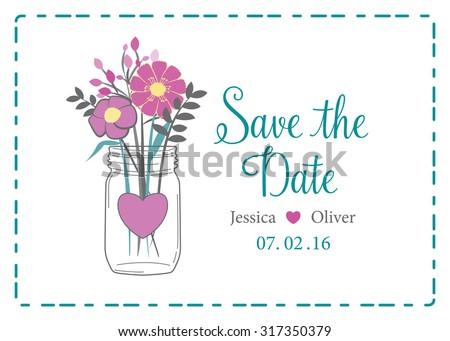 Wedding save date reminder invitation pink stock vector 317350379 wedding save the date reminder invitation with pink flowers in mason jar template invite stopboris Choice Image