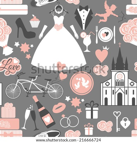 Wedding seamless pattern. - stock vector