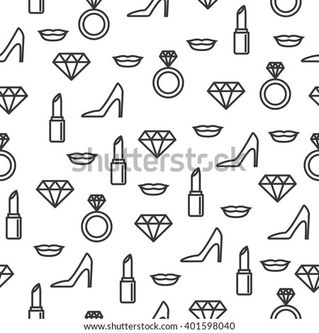 Wedding seamless pattern with line icons on white background. Wedding icons seamless pattern. Pattern with diamonds, lips, shoes, lipsticks, wedding rings and high heels. Fashion and beauty pattern. - stock vector