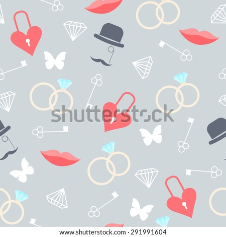 wedding seamless romantic decorative pattern background with cartoon elements isolated on soft background for use in design for card, invitation, poster, banner, placard, billboard cover - stock vector