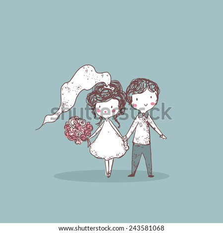 wedding set, bride and groom - stock vector