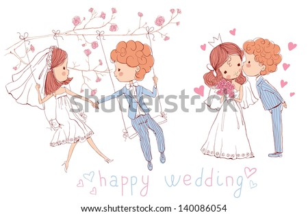 Wedding set. Bride and groom on swing. Bride and groom kissing. - stock vector