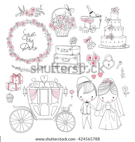 Wedding set for invitation cards, including template design decorative elements - flowers, bride, groom. - stock vector