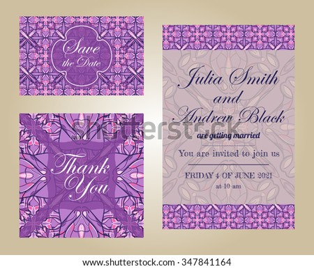 Wedding set in vintage ornamental style. Invitation; save the date card; thank you blank. Vector templates